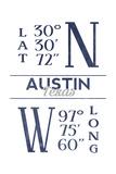 Austin  Texas - Latitude and Longitude (Blue)