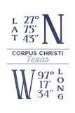 Corpus Christi  Texas - Latitude and Longitude (Blue)