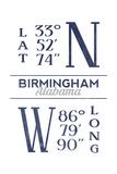 Birmingham  Alabama - Latitude and Longitude (Blue)