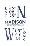 Madison  Wisconsin - Latitude and Longitude (Blue)