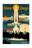 Baton Rouge  Louisiana - Retro Skyline