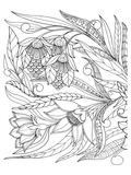 Flowers & Leafs Design Coloring Art Poster à colorier par Anonymous