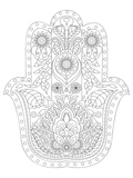 Hamsa Coloring Art Poster à colorier par Anonymous