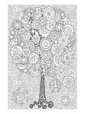 Snowy Tree Coloring Art Poster à colorier par Anonymous