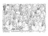 Snowmen & Snowball Coloring Art Poster à colorier par Anonymous