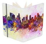 Los Angeles Skyline in Watercolor Background