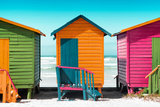 Awesome South Africa Collection - Colorful Beach Huts - Lime & Orange & Deep Pink