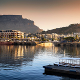 Awesome South Africa Collection Square - Cape Town Harbour and Table Mountain at Sunset
