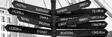 Awesome South Africa Collection Panoramic - Sign Post Cape Town B&W