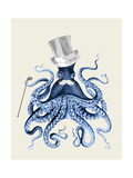 Blue Octopus on Cream b Reproduction d'art par Fab Funky