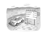 "A driving car passing a sign that says ""DISCUSSION 1/4 mile  ARGUMENT - New Yorker Cartoon"