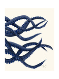 Giant Octopus Blue Triptych c Reproduction d'art par Fab Funky