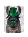 Llama With Green Top Hat and Moustache Reproduction d'art par Fab Funky