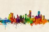Boston Massachusetts Skyline Reproduction d'art par Michael Tompsett