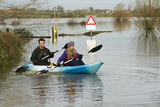 Couple in Kayak During January 2014 Flooding