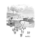 A boat basin cruise ship toy lets off tiny passengers  - New Yorker Cartoon
