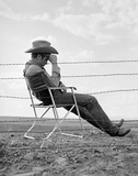 James Dean Seated Behind Fence Set of Giant 1955