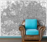 London - 1890 Bacon's Traveler Pocket Map - Black & White Self-Adhesive Wallpaper
