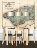New York - 1865 Topographical Map - Vintage Self-Adhesive Wallpaper
