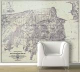 San Francisco - 1861 City And County Map - Retro Self-Adhesive Wallpaper