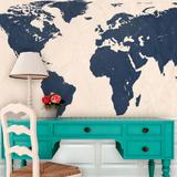 World Atlas Map - Navy Self-Adhesive Wallpaper