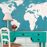 World Atlas Map - Teal Self-Adhesive Wallpaper