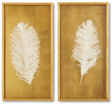 Gold Leaf White Feathers Set *