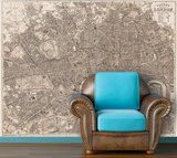 London - 1890 Bacon's Traveler Pocket Map - Sepia Self-Adhesive Wallpaper