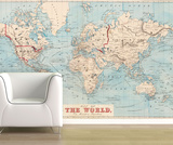 Map of the World - 1876 Shipping Routes Self-Adhesive Wallpaper