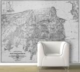 San Francisco - 1861 City And County Map - Black & White Self-Adhesive Wallpaper