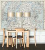 Boston - New York Vintage Map Self-Adhesive Wallpaper