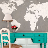 World Atlas Map - Putty Self-Adhesive Wallpaper