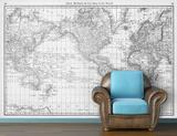 Map of the World (circa 1879) - Black & White Self-Adhesive Wallpaper