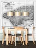 New York - 1865 Topographical Map - Black & White Self-Adhesive Wallpaper