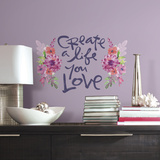 Kathy Davis Create A Life Floral Quote Peel and Stick Giant Wall Decals