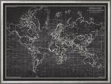 Ocean Current Map - Global Shipping Chart Reproduction encadrée par The Vintage Collection