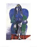 Femme Assise A L'echarpe Verde