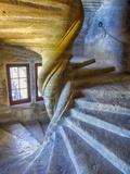 France  Provence  Lourmarin  Spiral Staircase in Chateau De Lourmarin