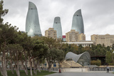 Azerbaijan  Baku A Park in Baku with the Flame Towers in the Distance