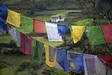 Asia  Bhutan  Trongsa Landscape and Prayer Flags Scene of Bhutan