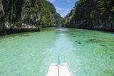 Front of an Outrigger Boat in the Clear Water in the Bacuit Archipelago  Palawan  Philippines