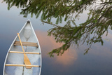 Canada  Quebec  Eastman Canoe on Lake at Sunset