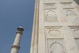 India  Agra  Taj Mahal Ornate Marble Wall with Corner Tower