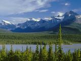 Alberta  Banff National Park  Mount Sarbach and Kaufmann Peaks Rise Above North Saskatchewan River