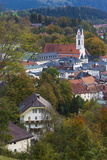 Germany  Bavaria  Bad Tolz  Elevated Town View from the Kalvarienberg  Dusk