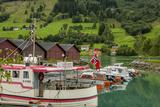 Fishing Harbor Norwegian Flag Olden  Norway