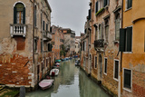 Canal and Bridges with Boats  Venice  Italy
