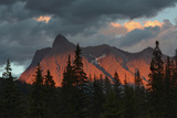 Alpenglow  from Kicking Horse River  British Columbia  Canada