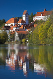 Germany  Bavaria  Fussen  St Mang Abbey and the Hohes Schloss Castle from the Lech River