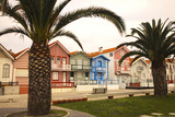 Portugal  Costa Nova  Candy-Striped Homes Lining the Street